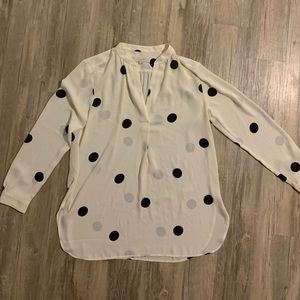 LOFT long sleeve polka dot blouse